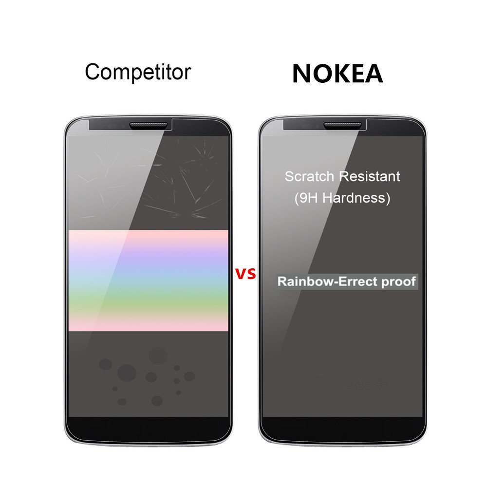 Moto E4 Plus Screen Protector, NOKEA Tempered Glass with [9H Hardness] [Crystal Clear] [Easy Bubble-Free Installation] [Scratch Resist] for Motorola Moto E4 Plus 2017 Released (1 Pack) by NOKEA (Image #5)