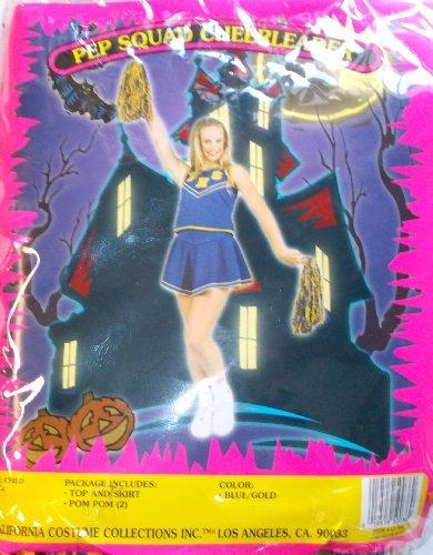 California Costumes Pep Squad Cheerleader Blue Gold Child S NIP -