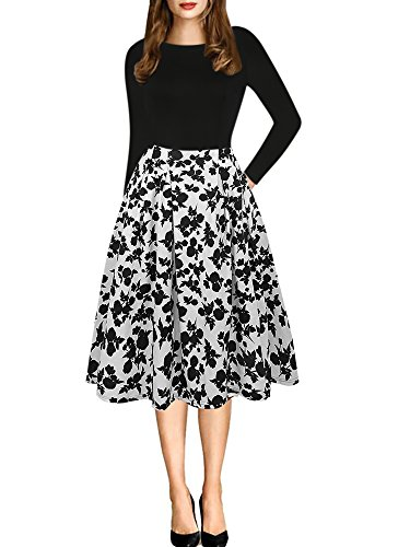 Cotton Floral Turtleneck - oxiuly Women's Vintage Long Sleeve Casual Patchwork Pockets Party Swing Dress OX165 (S, Black White Long)