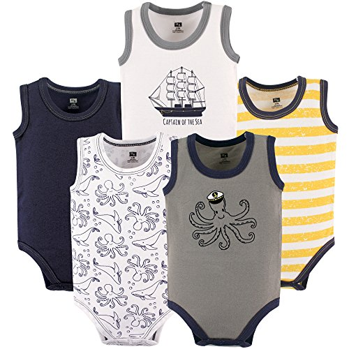 Hudson Baby Unisex Baby Sleeveless Cotton Bodysuits, Octopus Sailor, 5-Pack, 3-6 Months -