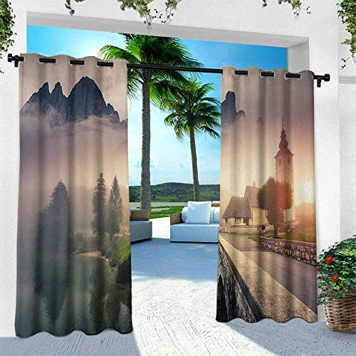 Hengshu Landscape, for Front Porch Covered Patio Gazebo Dock Beach Home,Majestic Foggy Morning Scene Triglav National Park Mountain Valley Dramatic View, W108 x L84 Inch, Beige Grey