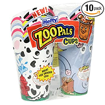 Amazon Com Hefty Zoo Pals 8 Ounce Cups Case Pack Ten 18 Count