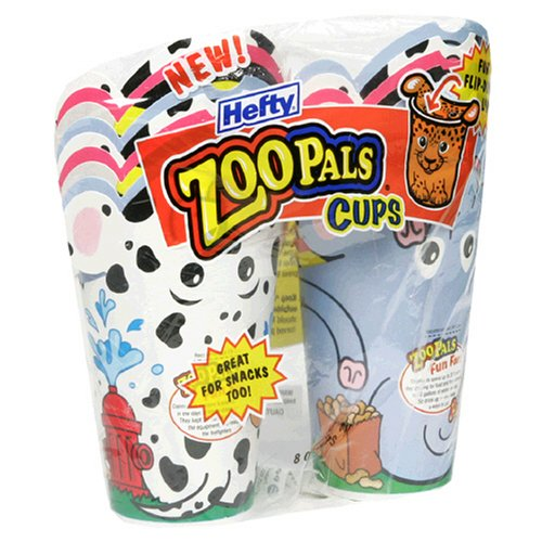 Hefty Zoo Pals 8 Ounce Cups, Case Pack, Ten - 18 Count Packs (180 Cups)