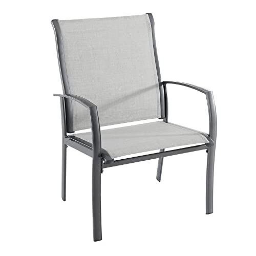 Hampton Bay FCA60401BG-2PK Commercial Grade Aluminum Oversized Outdoor Dining Chair in Sunbrella Augustine Alloy 2-Pack
