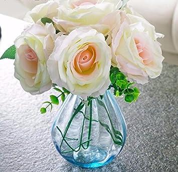 Xphopoq Kunstliche Blumen Rose Glas Vase Plastikblumen Home Deko