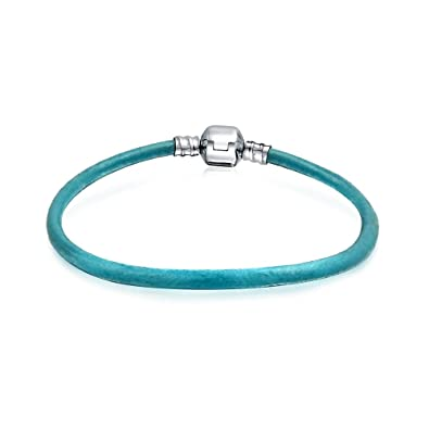 Bling Jewelry Blue Leather Cord Barrel Clasp Bracelet Bead Charms 925 Silver PBX-HC-07-BL-8