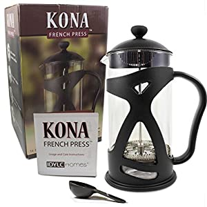 KONA French Press Coffee Maker With Reusable Stainless Steel Filter, Large Comfortable Handle & Glass Protecting Durable…