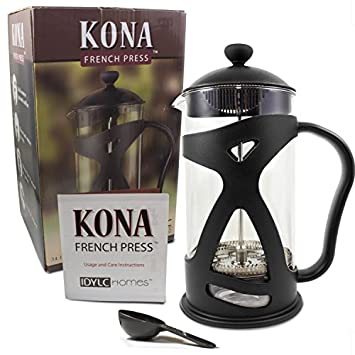 KONA French Press Coffee Maker With Reusable Stainless Steel Filter, Large Comfortable Handle Glass Protecting Durable Black Shell