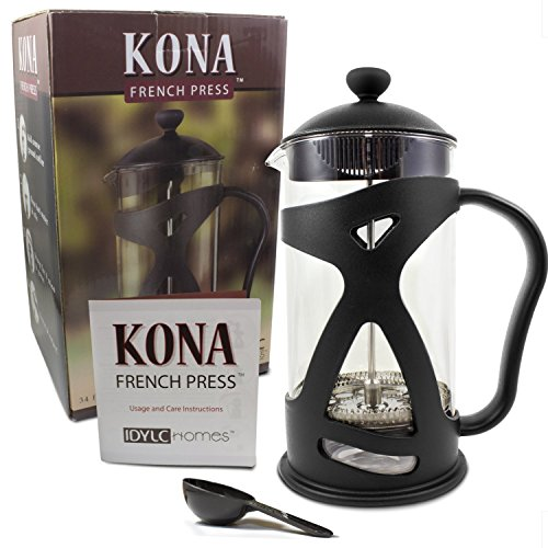 KONA French Press Coffee Maker With Reusable Stainless Steel Filter, Large Comfortable Handle & Glass Protecting Durable Black Shell by IdylcHomes KONA (Image #5)