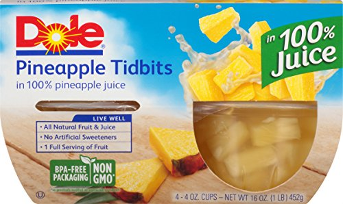 Dole Fruit Bowls Pineapple Tidbits in Juice 4 Cups Pack of 24
