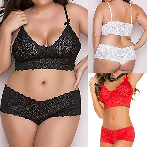 Amazon.com: Qisc Lace Flowers Lingerie, Womens Sexy Babydoll Plus Size Bra Crops and Panty Set: Clothing