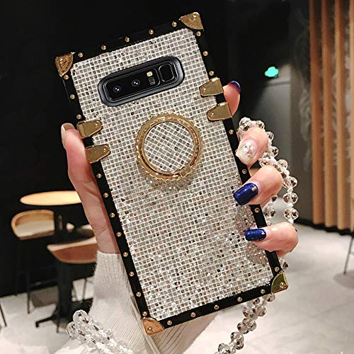 BABEMALL Compatible for Samsung Galaxy S9 Plus Case, Elegant Premium Bling Square Protective with Shock Absorption Metal Decoration Corner Back Case with Crystal Strap (Silver)