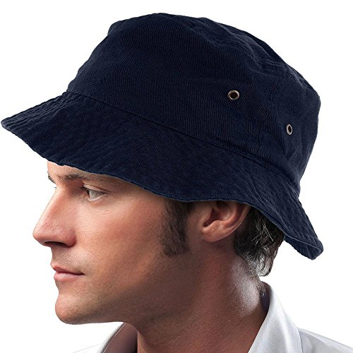 Easy-W Navy Blue 100% Cotton Hat Cap Bucket Boonie Unisex by Easy-W