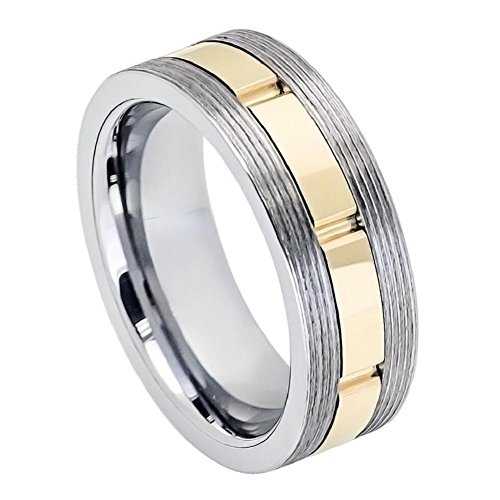 Gun Metal Screw Thread Sides Yellow Gold IP Plated Grooved Shiny Center Wedding Band Ring (Skull Thumb Screw)
