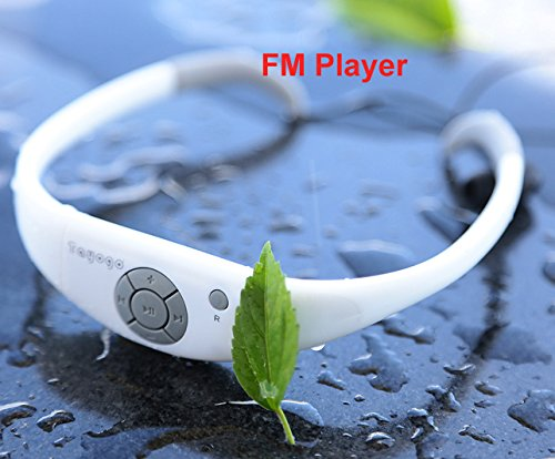 Tayogo® Waterproof Fm Player Radio Receiver Underwater for Swimming, Surfing, Running, Open Water Diving, Swimming Coach, with Rechargeable Battery, Design Comfortable Fashionable White