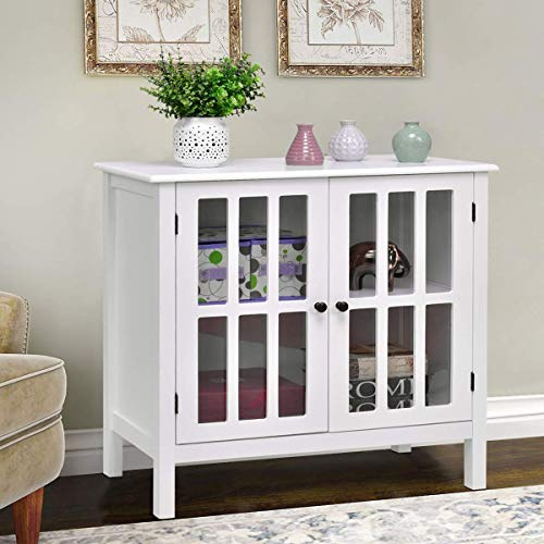Tangkula Console Cabinet Storage White Glass Door Sideboard for sale  Delivered anywhere in USA