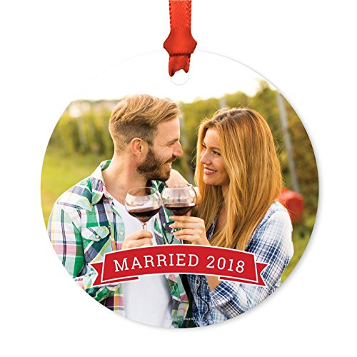 Andaz Press Photo Personalized Christmas Ornament, Red Banner, Married 2019, 1-Pack, Includes Ribbon and Gift Bag, Custom Image ()