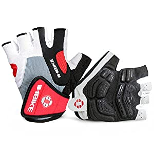 INBIKE 5mm Gel Pad Half Finger Bike Bicycle Cycling Gloves Red Medium