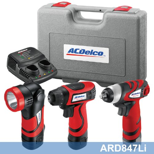 AcDelco ARD847Li Cordless 8V Li-ion Drill/Driver Impact Wrench Set Combo Kit with Case, LED Work Light, 2-Port Charger, and 2 Batteries by ACDelco
