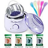 Wax Heater Professional Electric Warmer Wax Kitwith 4 Kinds of Hard Wax Beans 5 Pcs Recycled Wax Sticks Body Hair Removal