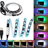 Black PCB TV BackLight Kit,Computer Case LED Light,eTopxizu 3.28Ft Multi-colour 30leds Flexible 5050 RGB USB LED Strip Light with 5v USB Cable And Mini Controller For TV/PC/Laptop Background Lighting