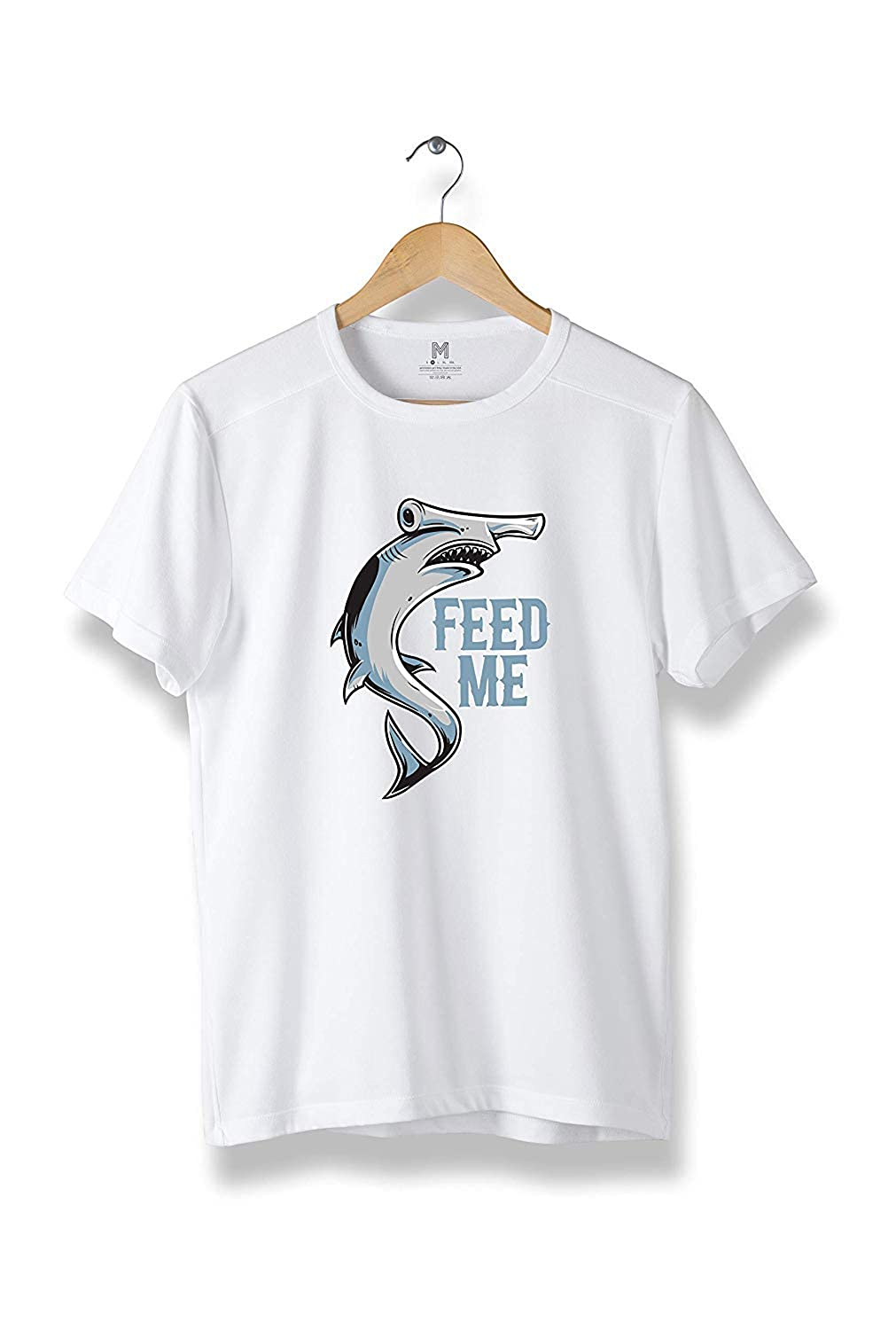 R04 Shark Feed Me T-Shirt Modern Cool Tees for Men