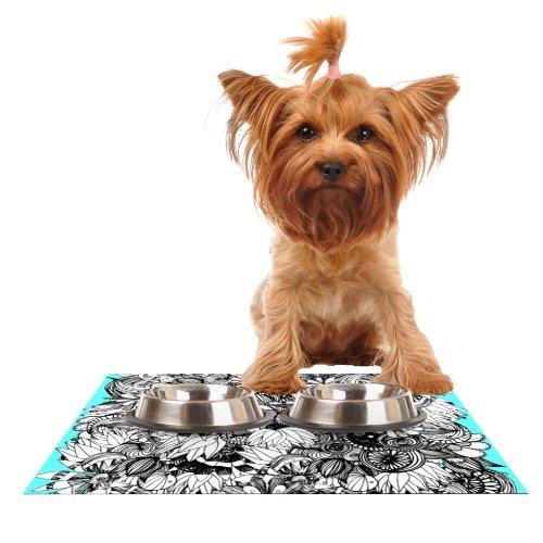 Kess InHouse Anchobee Blumen Feeding Mat for Pet Bowl, 24 by 15-Inch