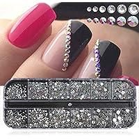 12 Grids Box Shiny Crystal AB Nail Rhinestones Flat Back Glitter Jewelry Charm Diamond Nail Art Decoration - Multicolor