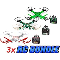 Striker, Glow Striker, and Camo Striker 2.4GHz 4.5CH RC Spy Drone 3-Pack Bundle