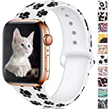 Haveda Floral Bands Compatible for Apple Watch 40mm Series 4 Series 5, Soft Pattern 38mm Apple Watch Band Women Printed Silicone Sport Wristbands for iWatch Series 3 Series 2/1, S/M, Paw