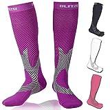 Compression Knee High Socks Purple L/XL