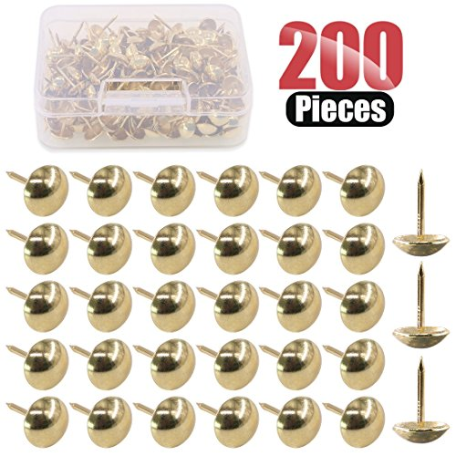 Hilitchi 200-Pieces 7/16''(11mm) Antique Upholstery Nails Tacks Furniture Tacks Upholstery Tacks Thumb Tack Push Pins Assortment Kit ()