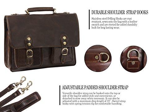 Luggage Depot USA, LLC Men's Alberto Bellucci Italian Leather Express Satchel D. Brn Laptop Messenger Bag, Dark Brown, One Size by Luggage Depot USA, LLC (Image #4)