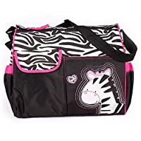 Accessotech Waterproof Baby Diaper Nappy Mummy Changing Handbag Shoulder Bag with Mat Travel (Zebra Pink)