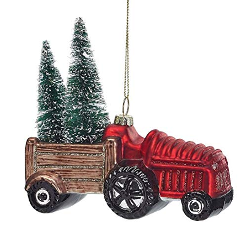 Holiday Tractor Christmas Ornament Vintage Glass Large Ornament Tree