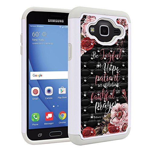 FINCIBO Case Compatible with Samsung Galaxy J3 J310 2016, Dual Layer Hybrid Protector Case Cover TPU Rhinestone Bling for Galaxy J3 J310 (NOT FIT J3 PRO, J3 Emerge) - Christian Romans 12:12 Design Rhinestone Protector Case