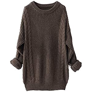Liny Xin Women's Cashmere Oversized Loose Knitted Crew Neck Long Sleeve Winter Warm Wool Pullover Long Sweater Dresses…