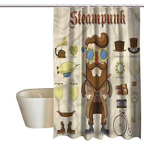 Denruny Shower Curtains for Boys Bathroom Sets Steampunk,Hipster Gentleman,W108 x L72,Shower Curtain for Bathroom]()