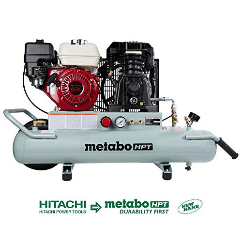 Metabo HPT Air Compressor, Wheelbarrow, Honda GX 160 Engine, 8-Gallon, Gas Powered, Portable, Twin Tank, Cast Iron, Oil Lubricated Pump, Solid Flat-free Rubber Tire (EC2610E)