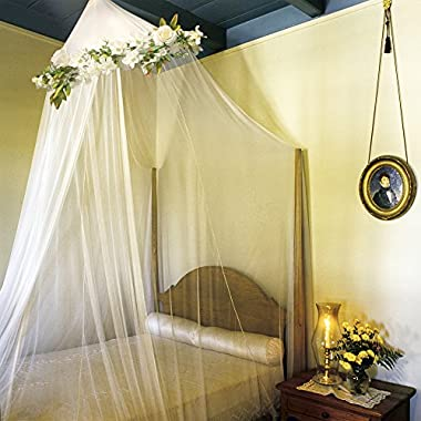 BOBO & BEE Elegant Tulle Bed Canopy Mosquito Curtains with Detachable Romantic Rose Flower Vine. Girls Princess and Baby Crib Canopy I Rustic Shabby Chic Boho Wedding Decor I Twin Size, White.