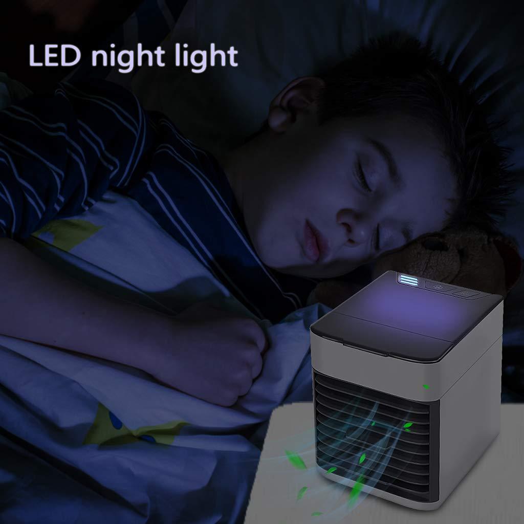 JERFER Condizionatore Portatile Raffreddatore dAria Evaporativo Mini 3 in 1 Dispositivo di Raffreddamento 1 Colore LED dellAria Umidificatore Purificatore Ventilatore ad Aria Condizionata