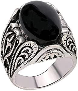 Black Oval Agate ring Stenale Steel on Silver - distinctive inscription Side,Size US 6