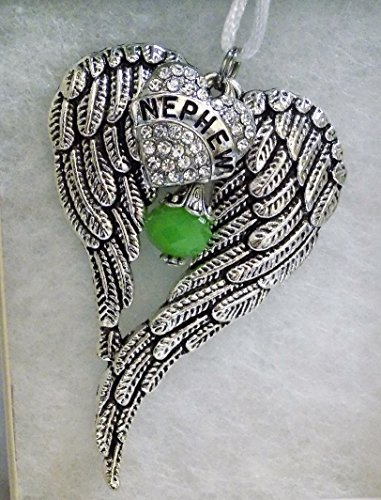 Nephew Memorial Angel Wings w/ Crystal Heart Christmas Ornament Sympathy - Ornament Nephew