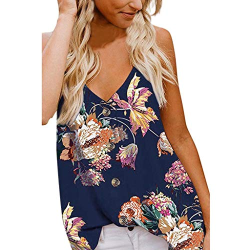 Witspace Women's Button Deep V Neck Floral Print Tank Top Loose Casual Sleeveless Shirts