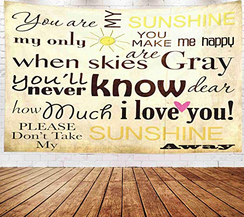 Fullentiart Wall Tapestry, Map Large Tapestry Wall Hanging 80x60inch You are My Sunshine Word Art Vintage Background Decoration Room Holiday Décor -