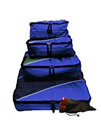 Evatex Packing Cubes | Travel Packing Cubes, 4pc Set with Free Shoe bags