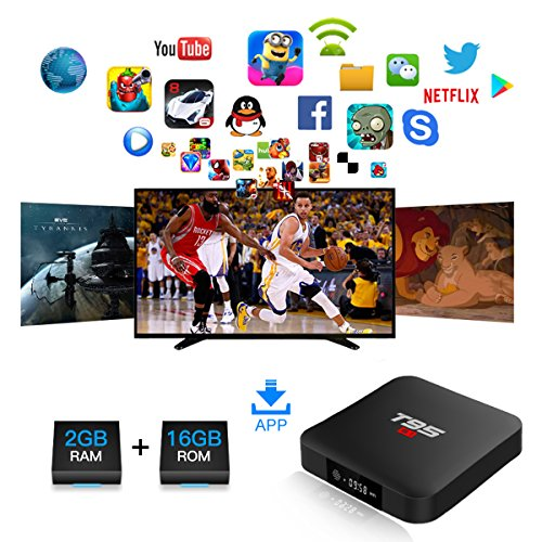 T95 S1 Android TV Box, Android 7.1 Amlogic S905W Quad Core 2GB/16GB with Digital Display HDMI HD 4K Ethernet WiFi 2.4GHz by Turewell (Image #2)