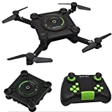 Gbell Mini Selfie RC Drone Quadcopter- HC651W 2.4G Wifi FPV Altitude Hold Foldable Aerial Vehicle Toy,Best Birthday Gifts for Kids Adults,Black (Black)