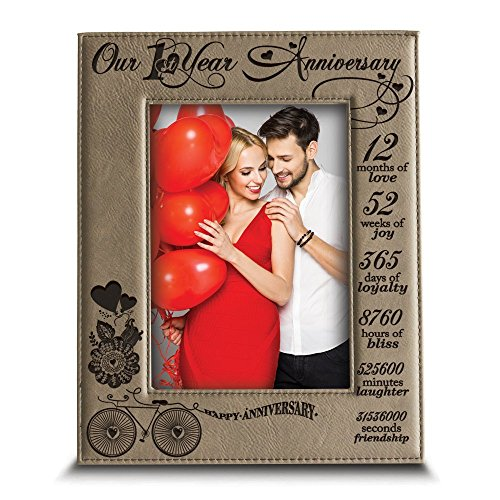 Bella Busta - Our 1st Year Anniversary - Months, Week, Days, Hours, Minutes -Engraved Leather Picture Frame-Anniversary gift for couple-our 1st Anniversary gift (4