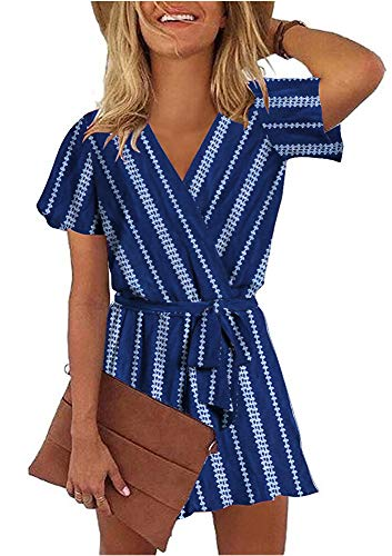 Striped V-neck Shorts - ETCYY Women's Summer V Neck Argyle Striped Short Sleeve Short Jumpsuit Rompers with Belt Blue
